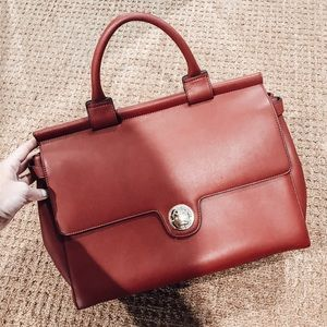 Handbags - RED LEATHER BRIEFCASE